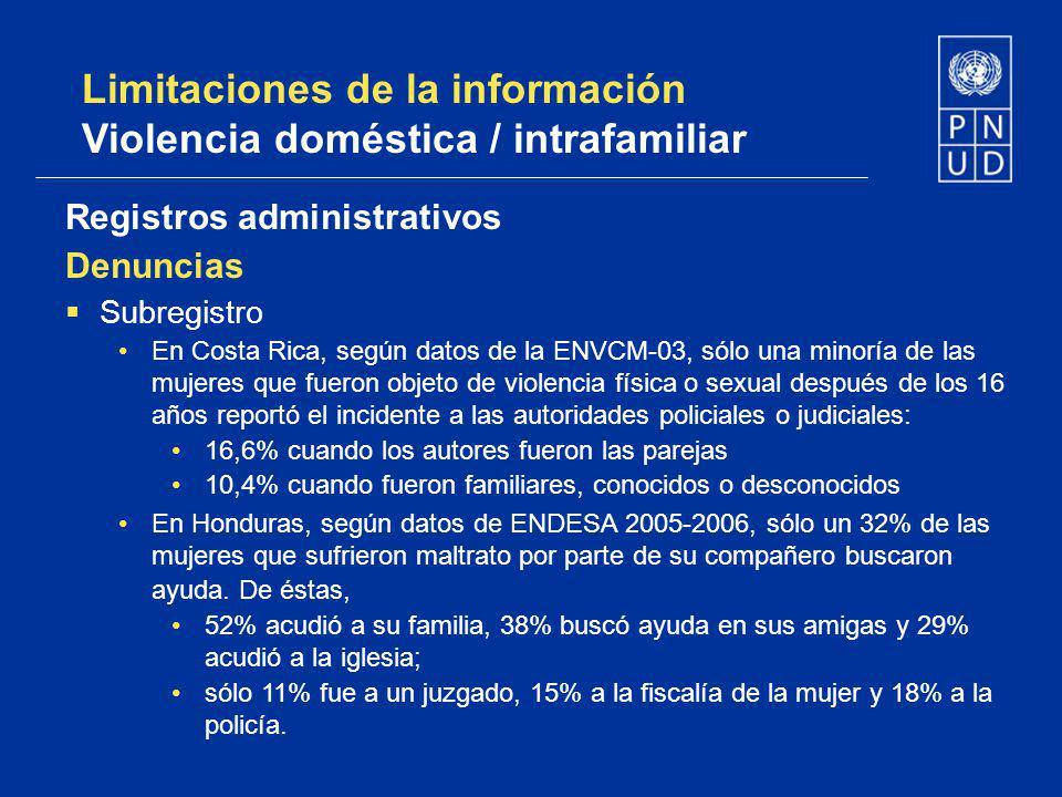 Limitaciones de la información Violencia doméstica / intrafamiliar