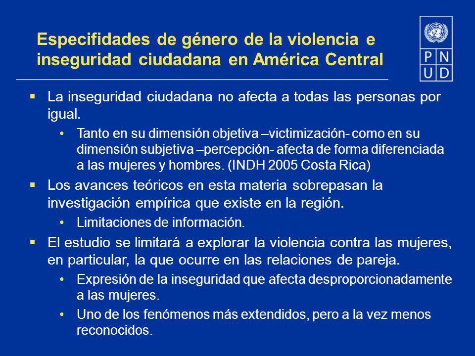 Especifidades de género de la violencia e inseguridad ciudadana en América Central