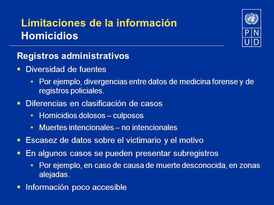 Limitaciones de la información Homicidios