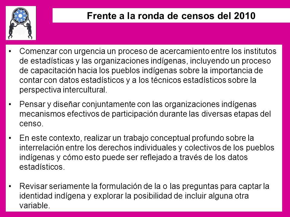 Frente a la ronda de censos del 2010