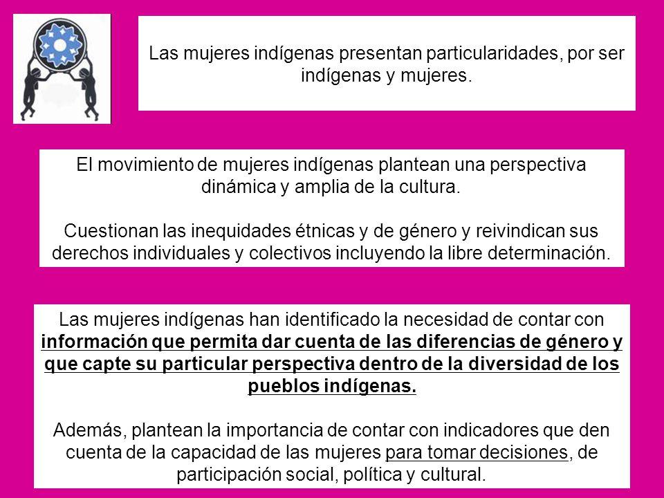 Las mujeres indígenas presentan particularidades, por ser indígenas y mujeres.