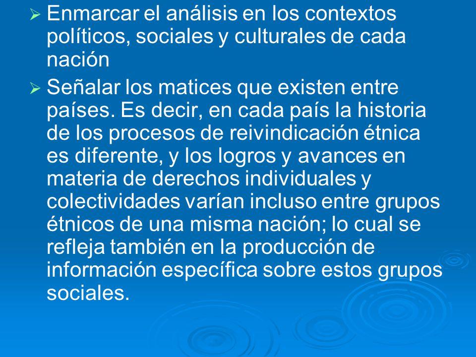 Enmarcar el análisis en los contextos políticos, sociales y culturales de cada nación