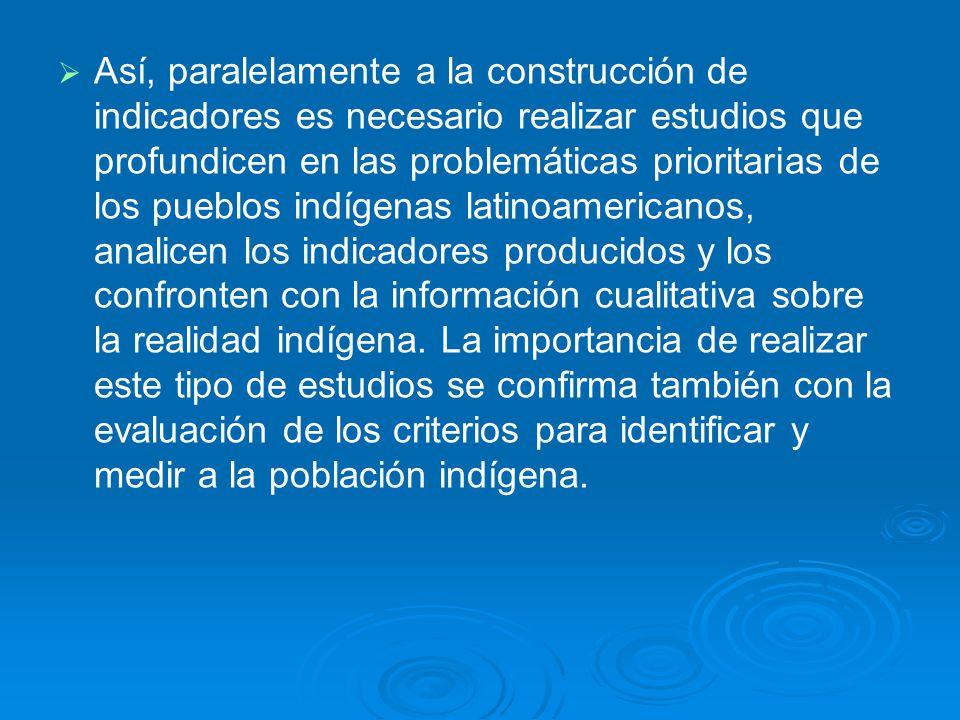 Así, paralelamente a la construcción de indicadores es necesario realizar estudios que profundicen en las problemáticas prioritarias de los pueblos indígenas latinoamericanos, analicen los indicadores producidos y los confronten con la información cualitativa sobre la realidad indígena.
