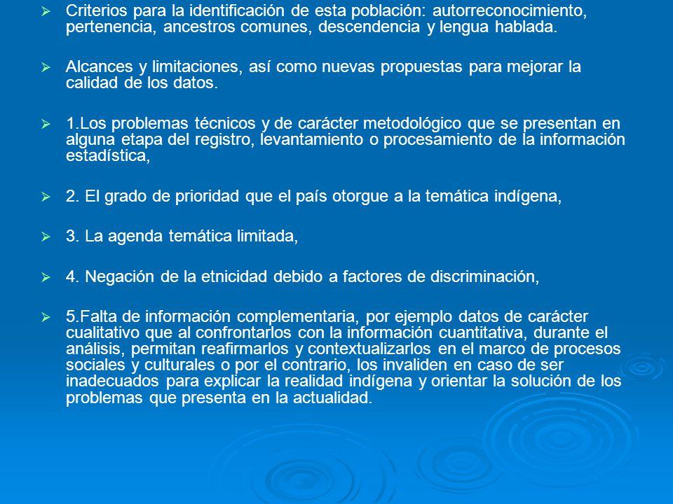 Criterios para la identificación de esta población: autorreconocimiento, pertenencia, ancestros comunes, descendencia y lengua hablada.