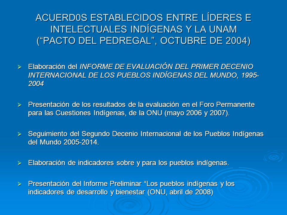 ACUERD0S ESTABLECIDOS ENTRE LÍDERES E INTELECTUALES INDÍGENAS Y LA UNAM ( PACTO DEL PEDREGAL , OCTUBRE DE 2004)