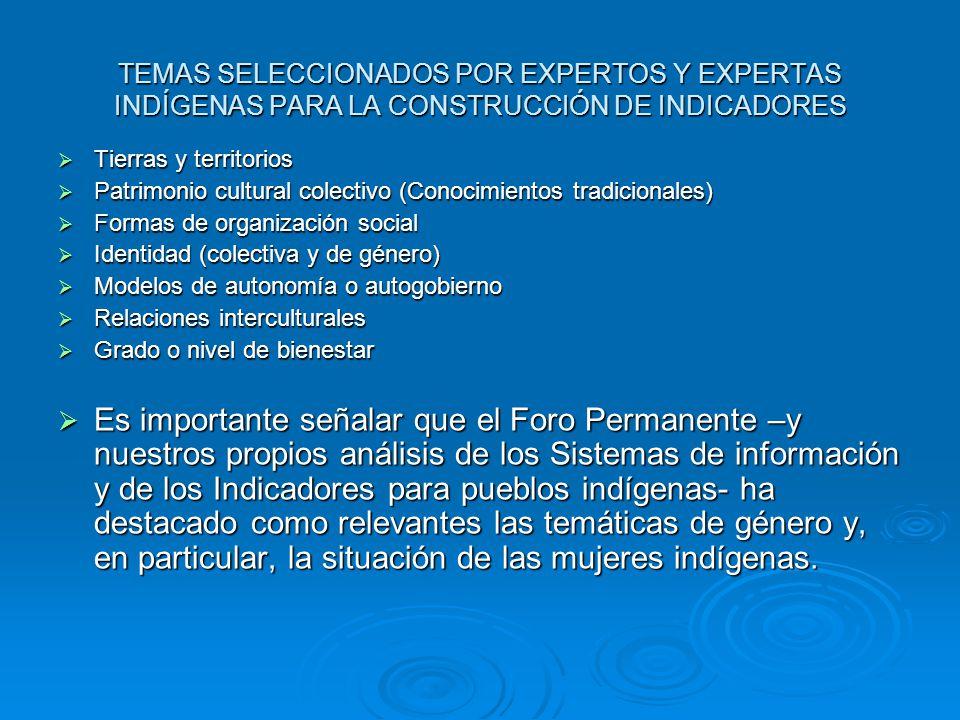 TEMAS SELECCIONADOS POR EXPERTOS Y EXPERTAS INDÍGENAS PARA LA CONSTRUCCIÓN DE INDICADORES