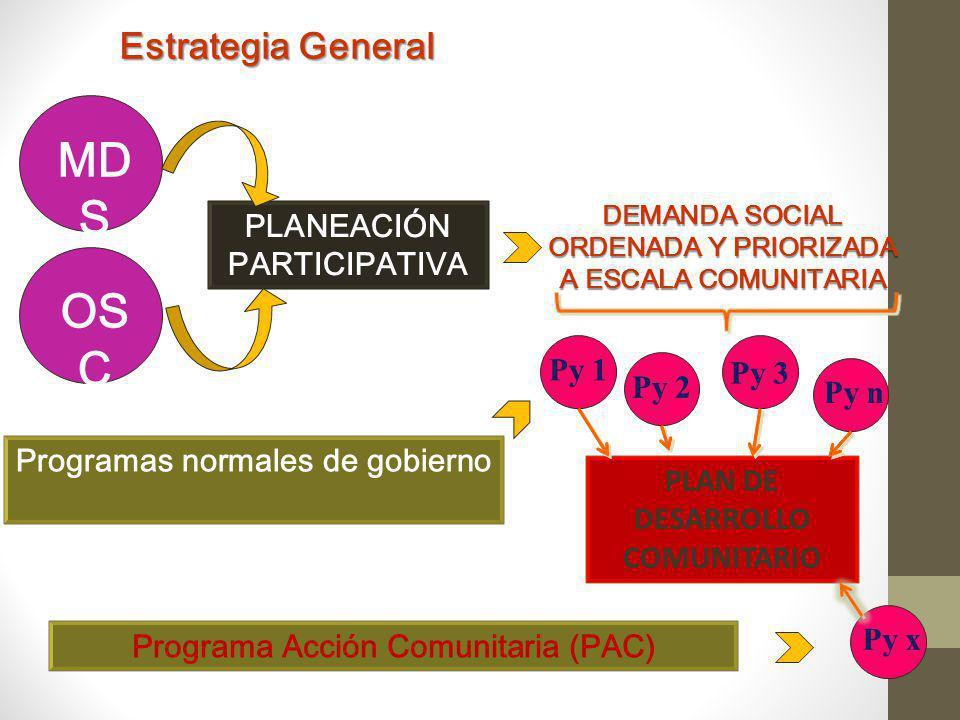 MDS OSC Estrategia General PLANEACIÓN PARTICIPATIVA Py 1 Py 3 Py 2