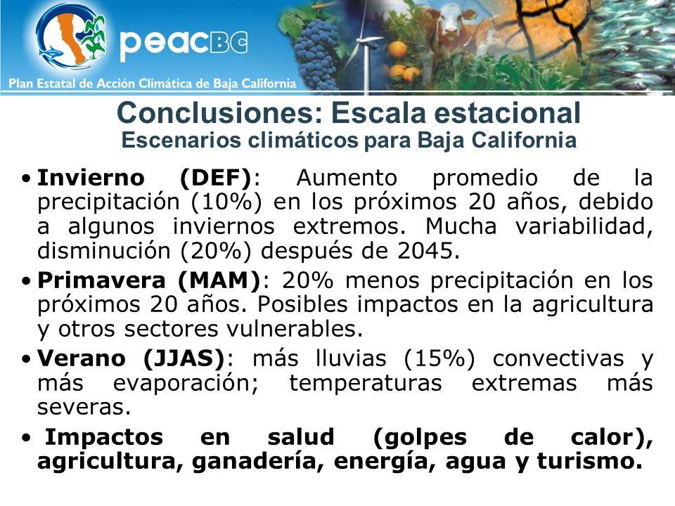 Conclusiones: Escala estacional Escenarios climáticos para Baja California