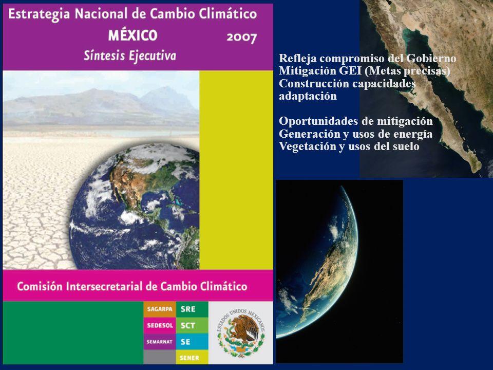 Refleja compromiso del Gobierno Mitigación GEI (Metas precisas)