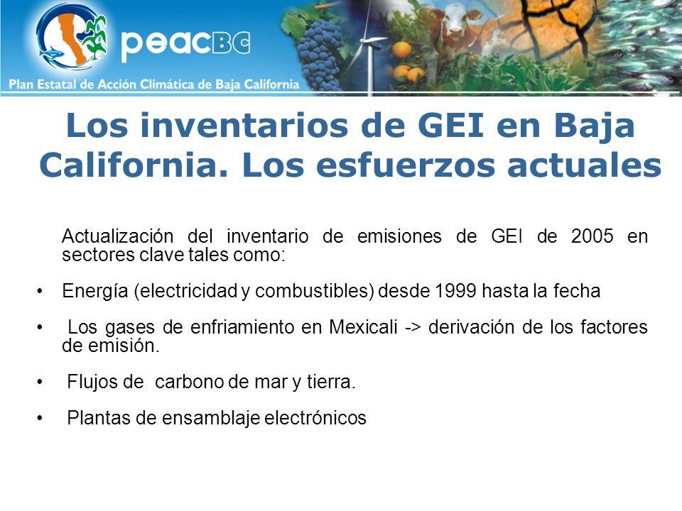 Los inventarios de GEI en Baja California. Los esfuerzos actuales