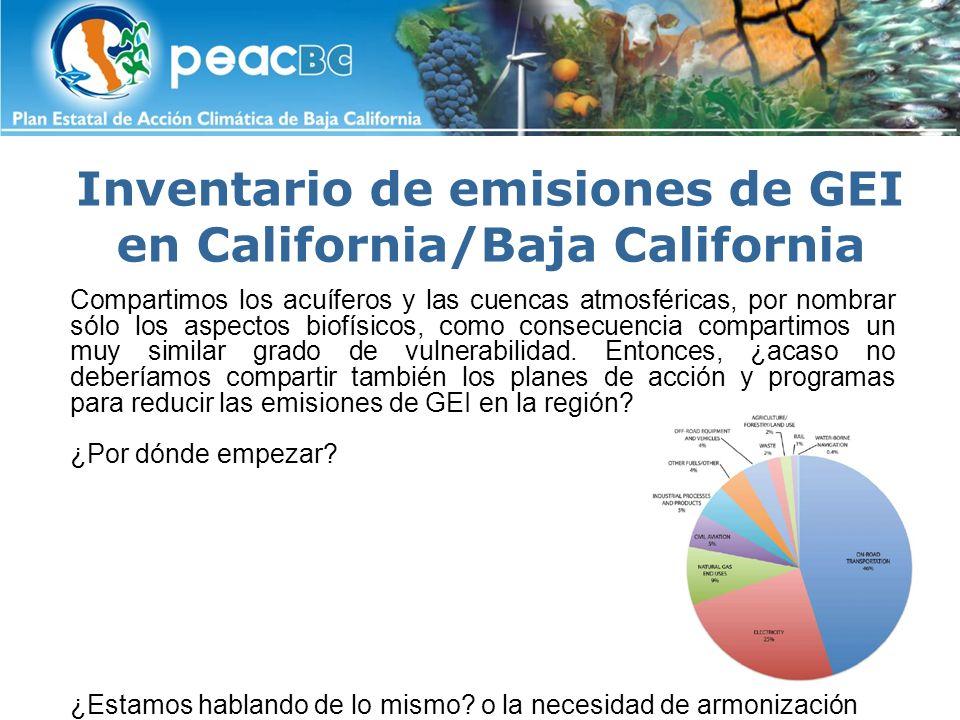 Inventario de emisiones de GEI en California/Baja California