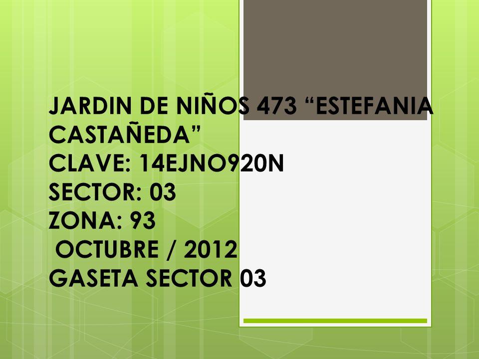 JARDIN DE NIÑOS 473 ESTEFANIA CASTAÑEDA CLAVE: 14EJNO920N SECTOR: 03 ZONA: 93 OCTUBRE / 2012 GASETA SECTOR 03