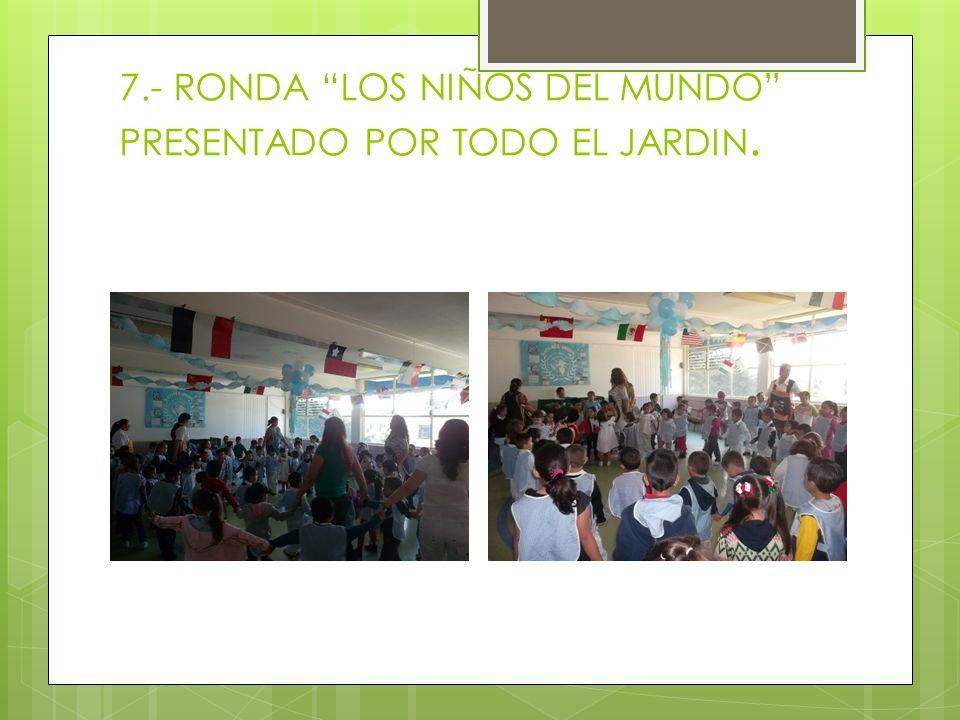 7.- RONDA LOS NIÑOS DEL MUNDO PRESENTADO POR TODO EL JARDIN.