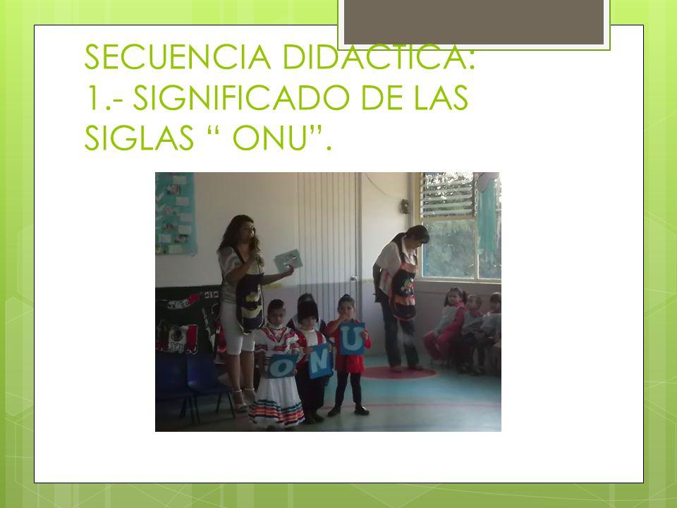 SECUENCIA DIDACTICA: 1.- SIGNIFICADO DE LAS SIGLAS ONU .