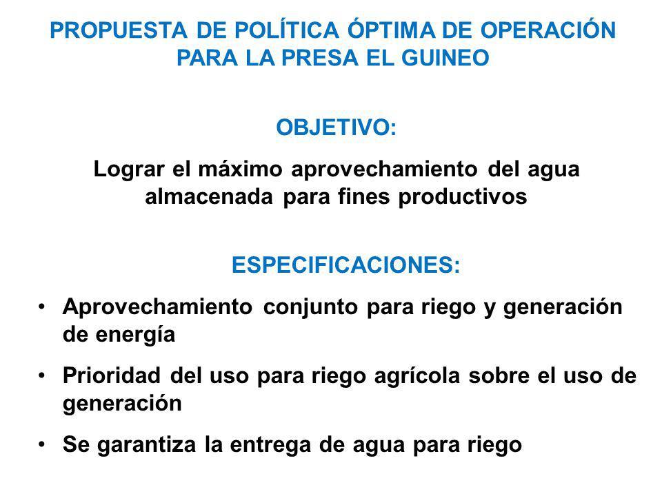 PROPUESTA DE POLÍTICA ÓPTIMA DE OPERACIÓN PARA LA PRESA EL GUINEO
