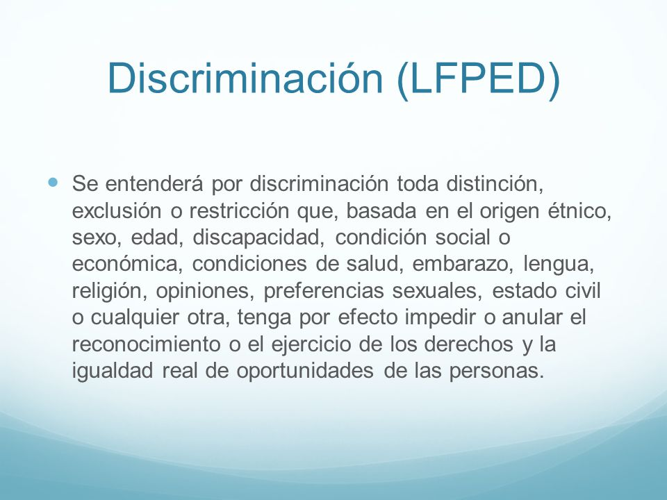 Discriminación (LFPED)