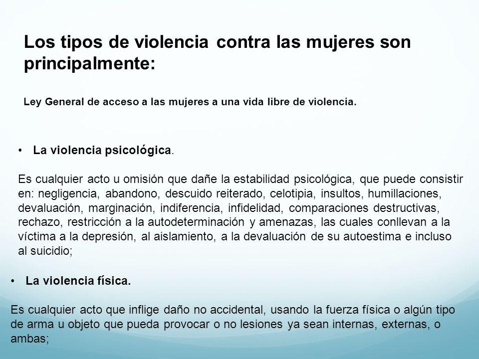 Los tipos de violencia contra las mujeres son principalmente: