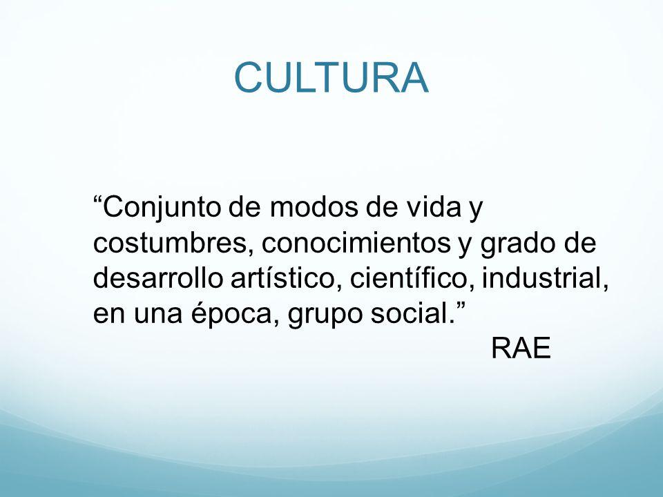 CULTURA Conjunto de modos de vida y costumbres, conocimientos y grado de desarrollo artístico, científico, industrial, en una época, grupo social.