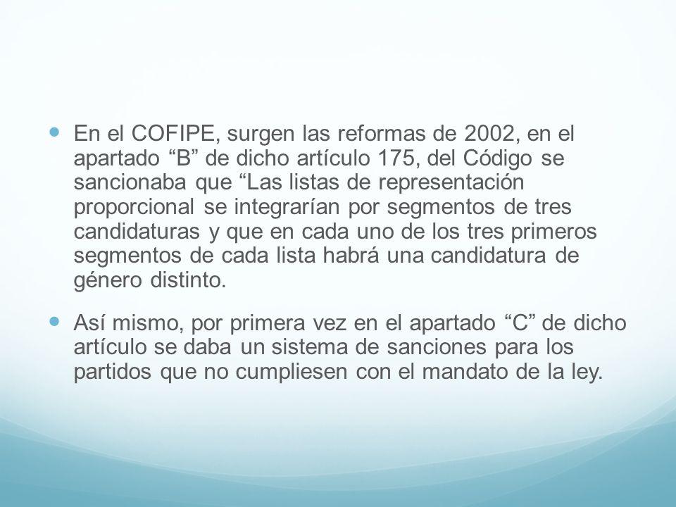 En el COFIPE, surgen las reformas de 2002, en el apartado B de dicho artículo 175, del Código se sancionaba que Las listas de representación proporcional se integrarían por segmentos de tres candidaturas y que en cada uno de los tres primeros segmentos de cada lista habrá una candidatura de género distinto.