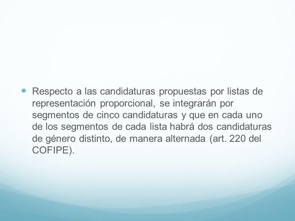 Respecto a las candidaturas propuestas por listas de representación proporcional, se integrarán por segmentos de cinco candidaturas y que en cada uno de los segmentos de cada lista habrá dos candidaturas de género distinto, de manera alternada (art.