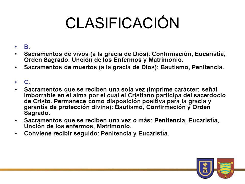 CLASIFICACIÓN B. Sacramentos de vivos (a la gracia de Dios): Confirmación, Eucaristía, Orden Sagrado, Unción de los Enfermos y Matrimonio.