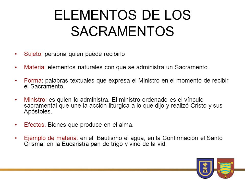 ELEMENTOS DE LOS SACRAMENTOS
