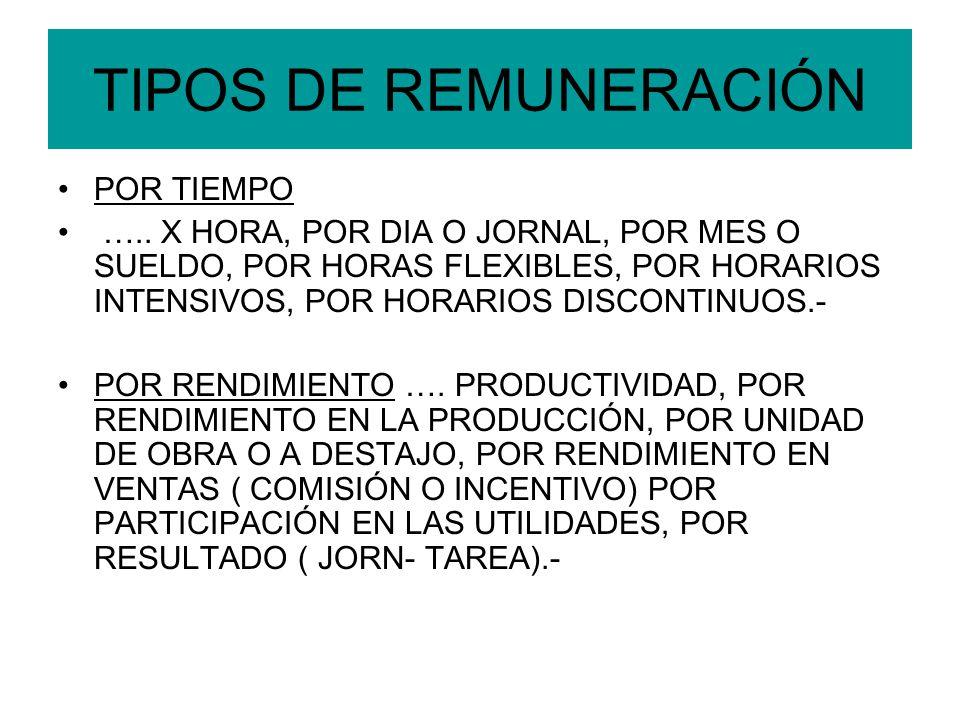 TIPOS DE REMUNERACIÓN POR TIEMPO