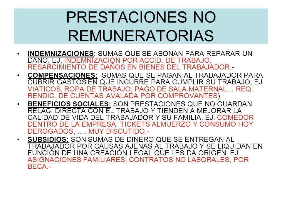 PRESTACIONES NO REMUNERATORIAS