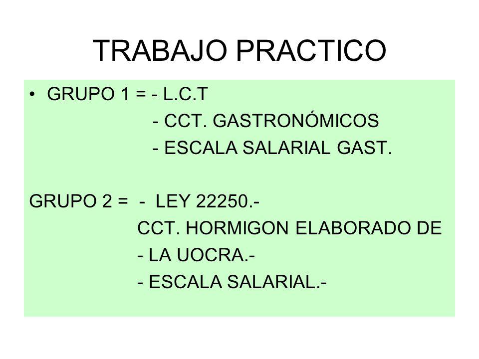 TRABAJO PRACTICO GRUPO 1 = - L.C.T - CCT. GASTRONÓMICOS