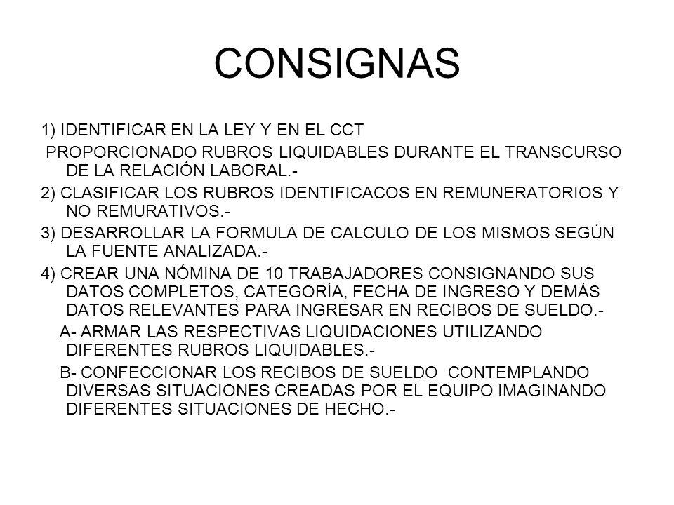 CONSIGNAS 1) IDENTIFICAR EN LA LEY Y EN EL CCT