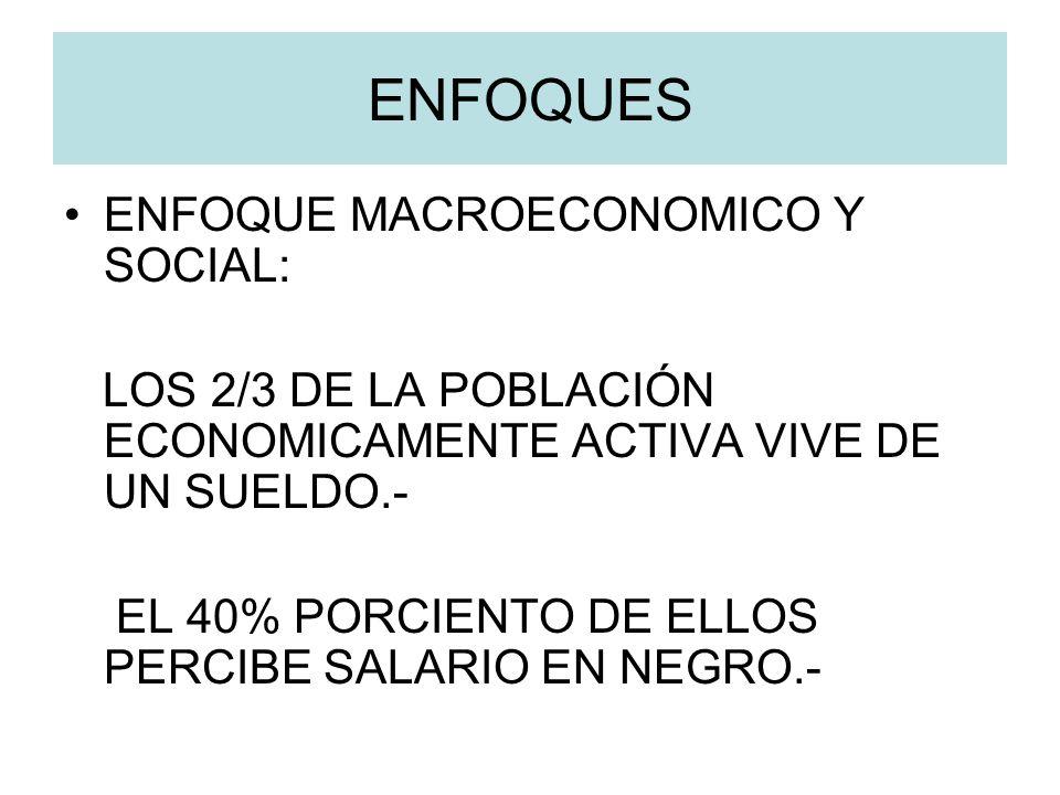 ENFOQUES ENFOQUE MACROECONOMICO Y SOCIAL: