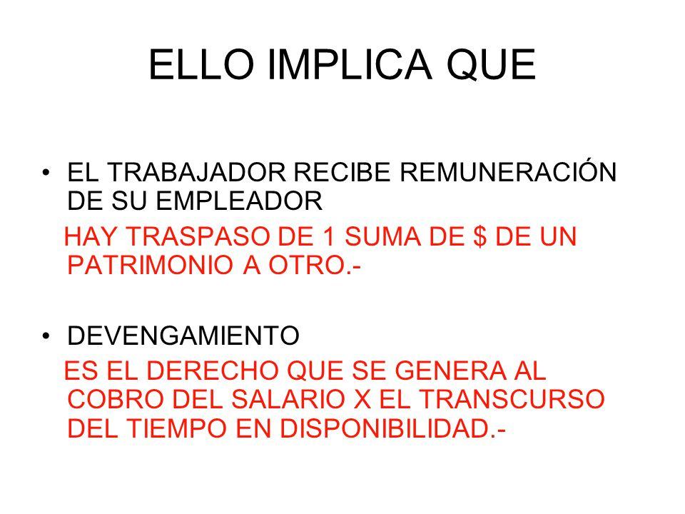 ELLO IMPLICA QUE EL TRABAJADOR RECIBE REMUNERACIÓN DE SU EMPLEADOR
