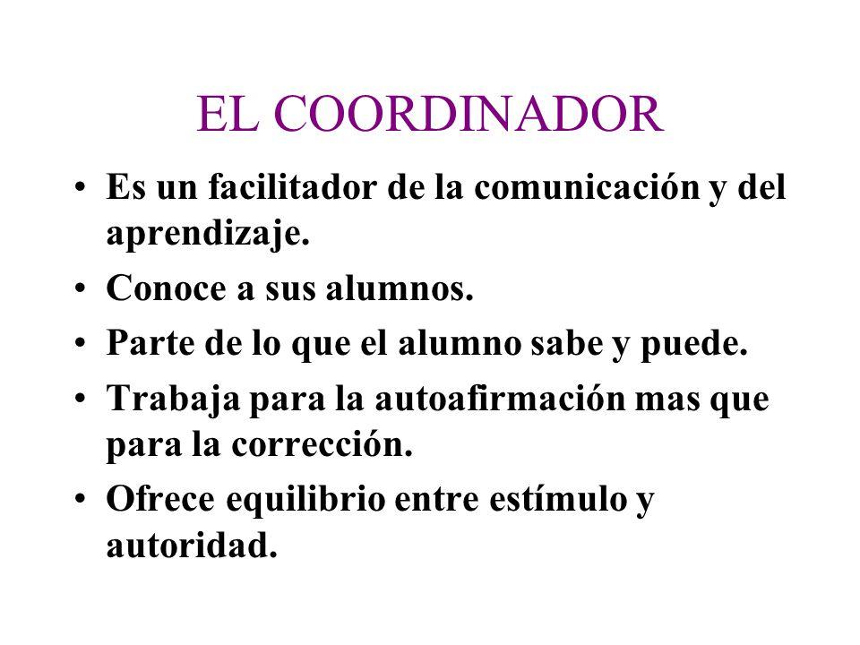EL COORDINADOR Es un facilitador de la comunicación y del aprendizaje.