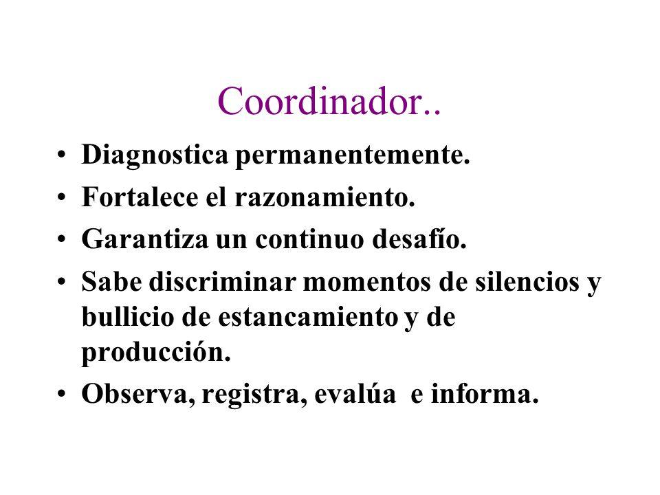 Coordinador.. Diagnostica permanentemente. Fortalece el razonamiento.