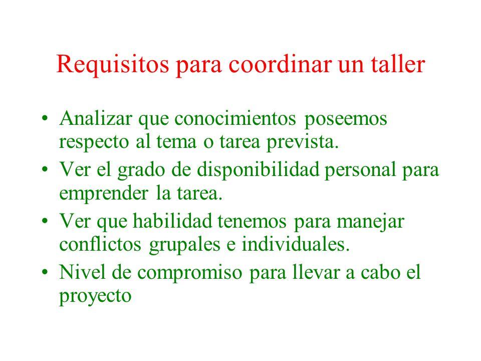 Requisitos para coordinar un taller
