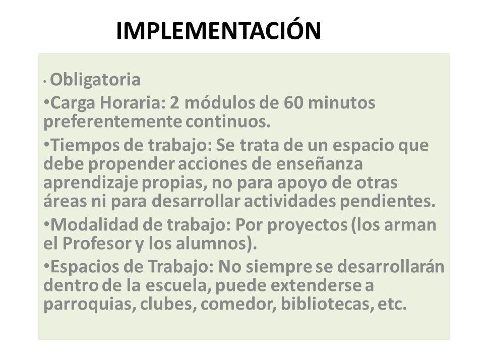 Implementación Obligatoria. Carga Horaria: 2 módulos de 60 minutos preferentemente continuos.