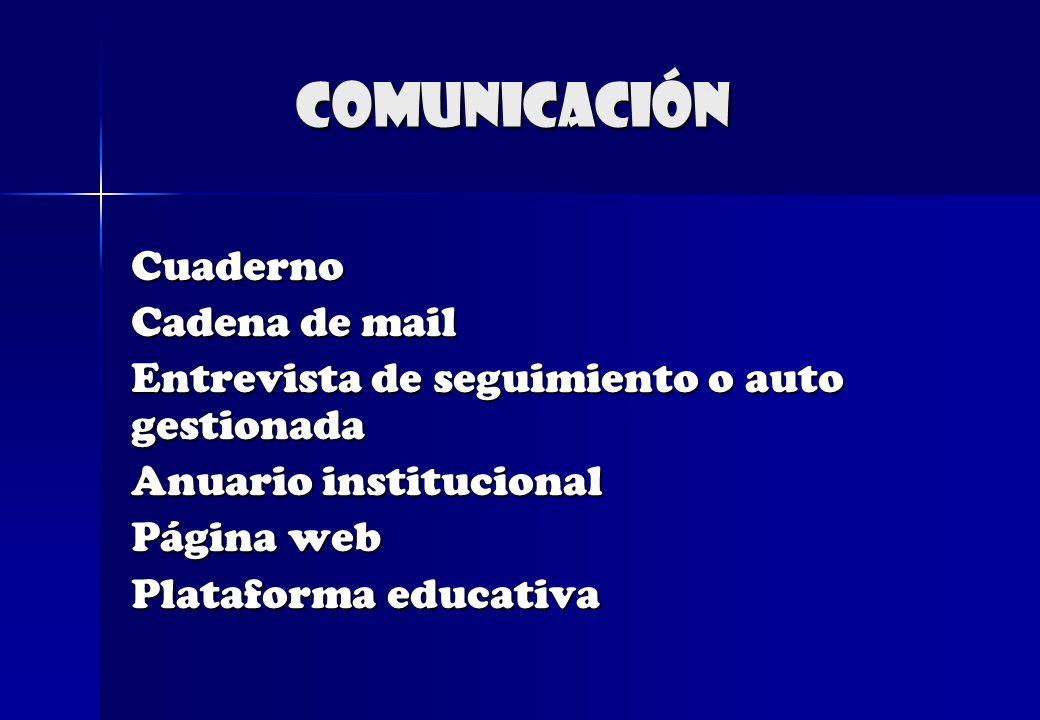 comunicación Cuaderno Cadena de mail Entrevista de seguimiento o auto gestionada Anuario institucional Página web Plataforma educativa