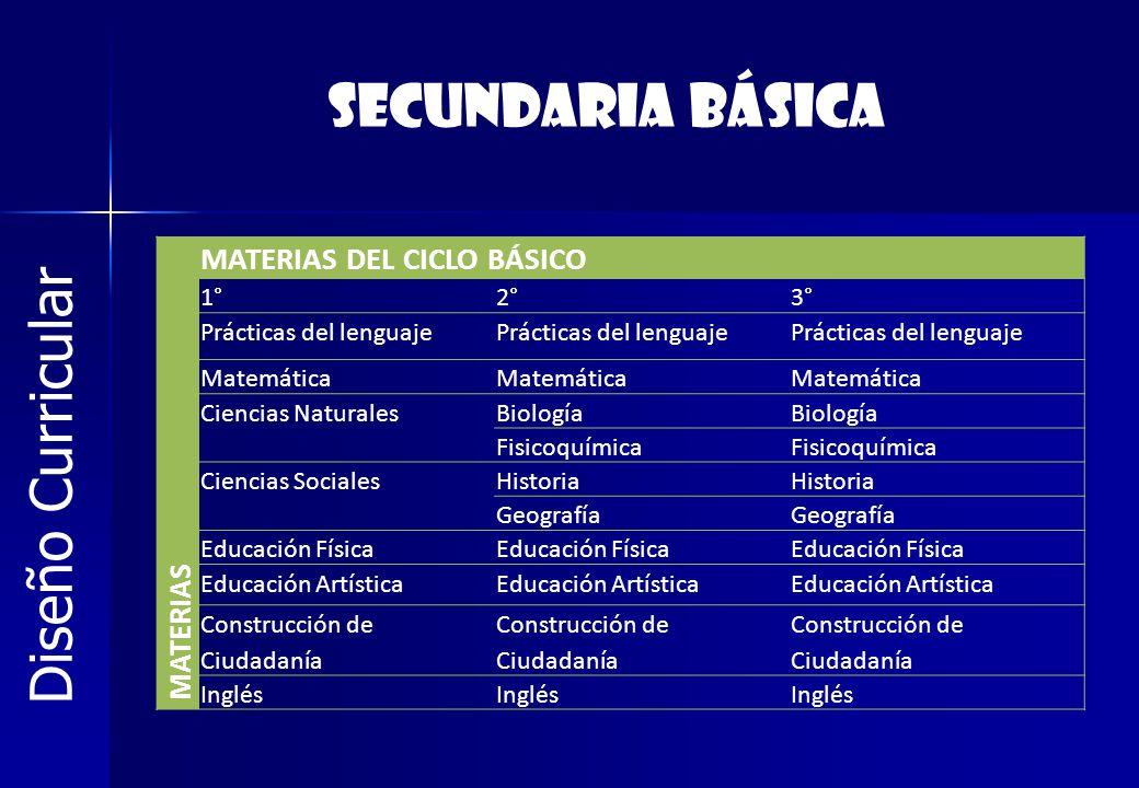SECUNDARIA BÁSICA Diseño Curricular MATERIAS DEL CICLO BÁSICO MATERIAS