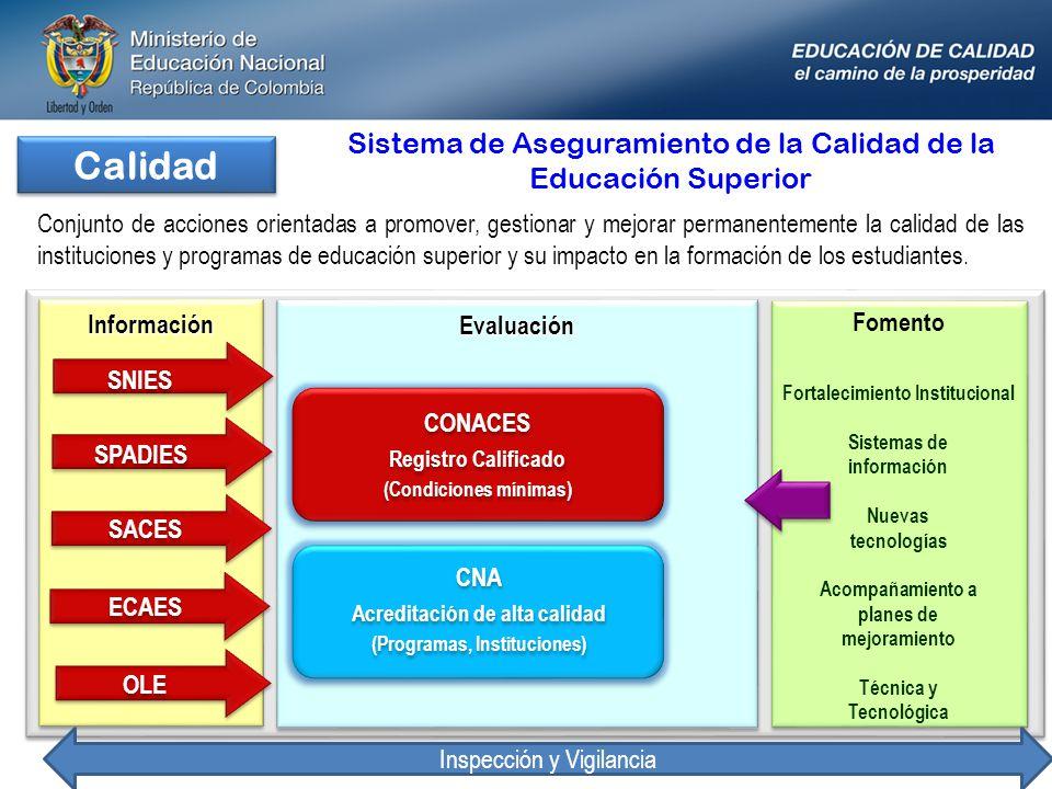 Calidad Sistema de Aseguramiento de la Calidad de la Educación Superior.