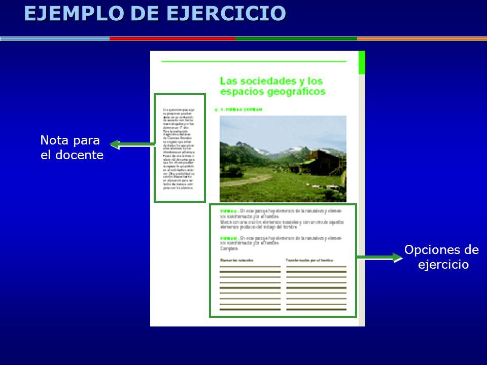 EJEMPLO DE EJERCICIO Nota para el docente Opciones de ejercicio