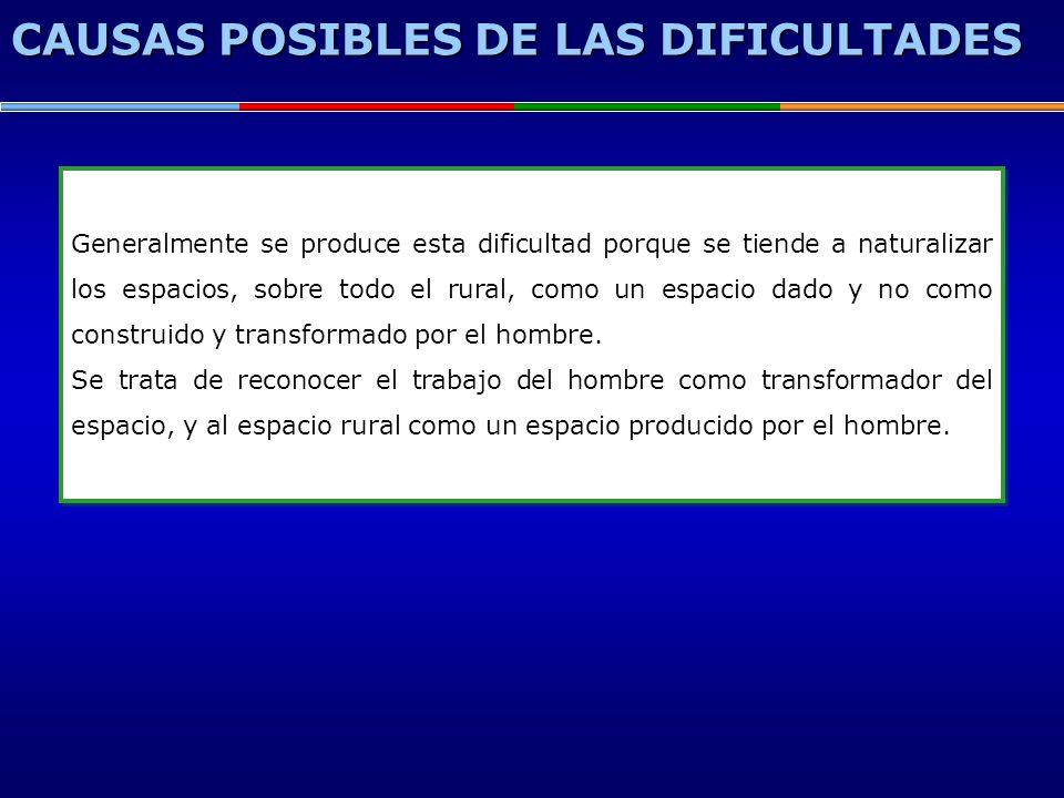 CAUSAS POSIBLES DE LAS DIFICULTADES