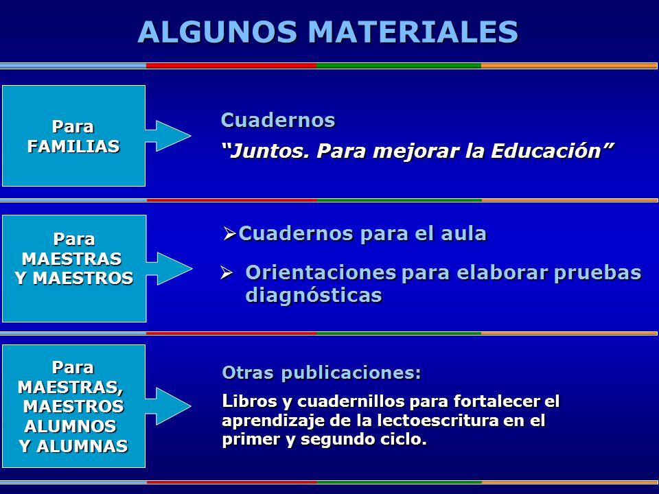 ALGUNOS MATERIALES Cuadernos Juntos. Para mejorar la Educación