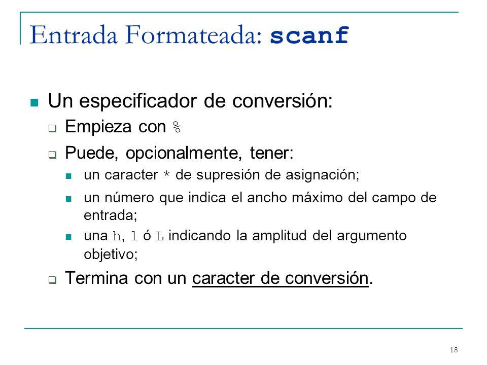 Entrada Formateada: scanf