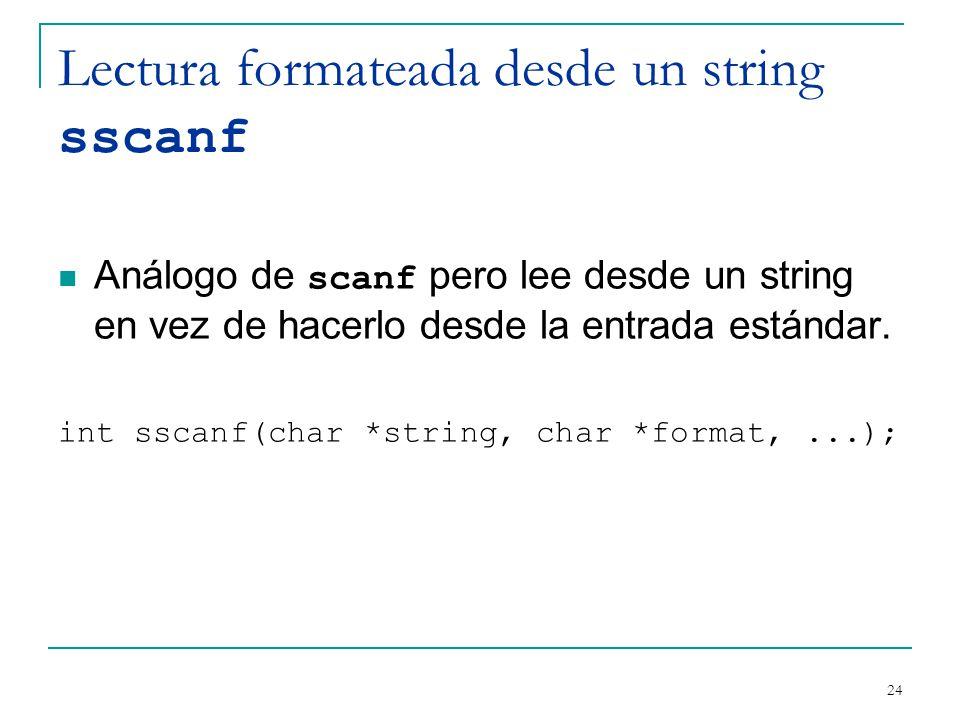 Lectura formateada desde un string sscanf
