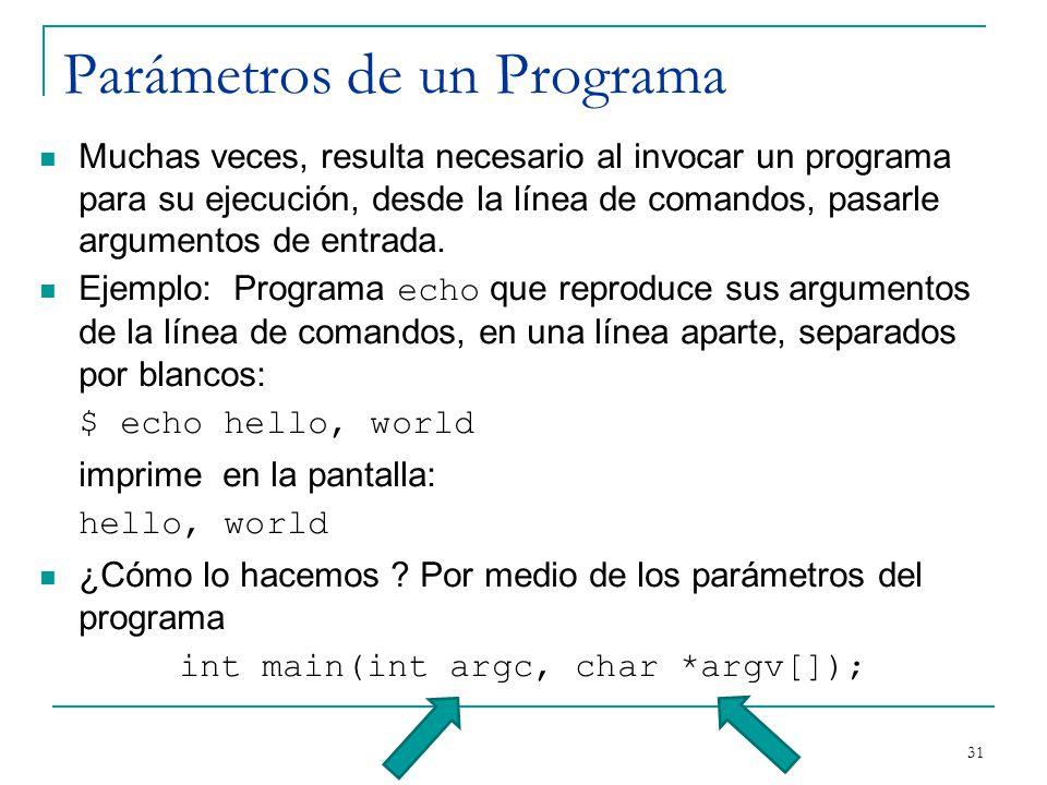Parámetros de un Programa