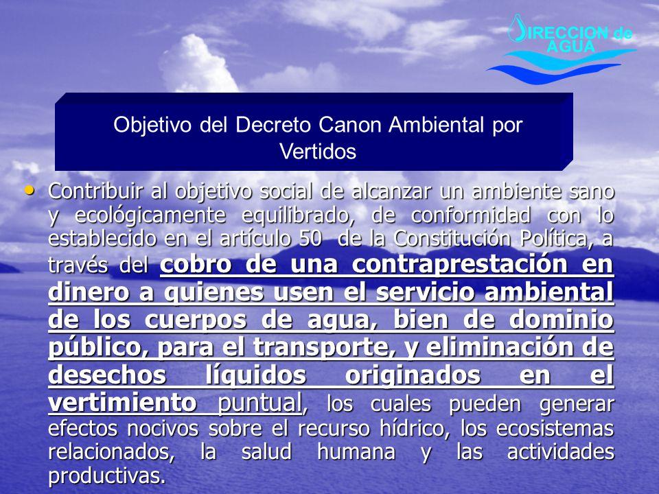 Objetivo del Decreto Canon Ambiental por Vertidos