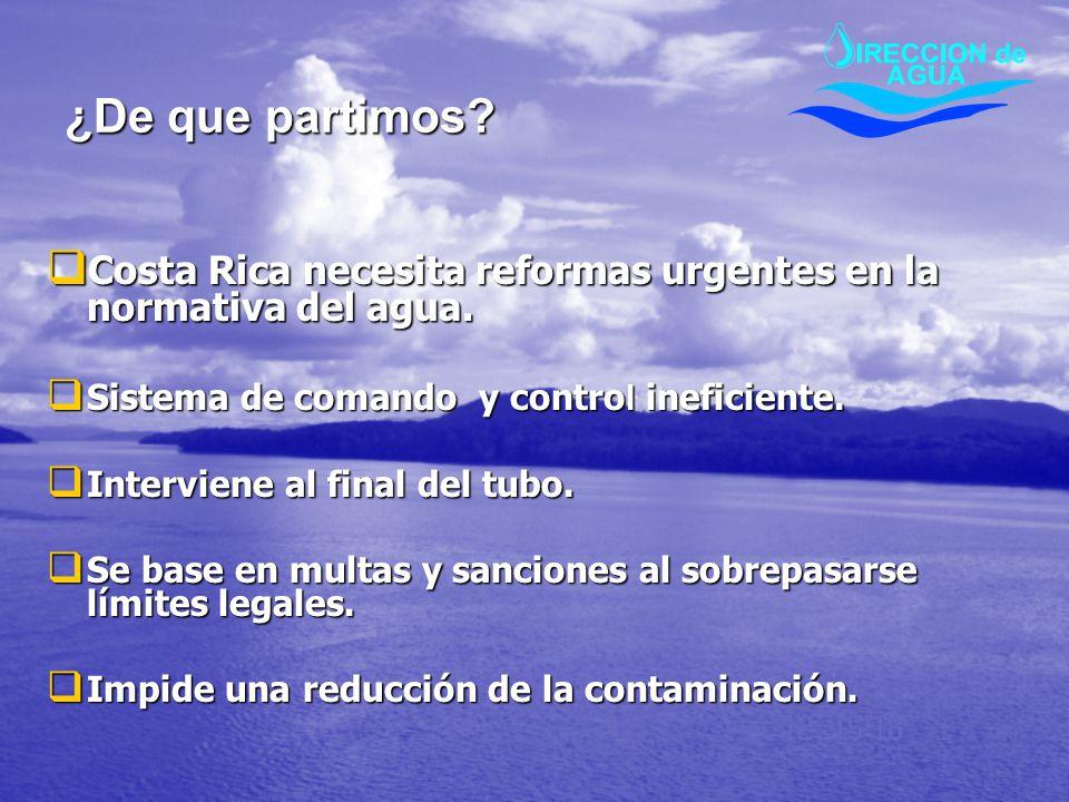 ¿De que partimos Costa Rica necesita reformas urgentes en la normativa del agua. Sistema de comando y control ineficiente.