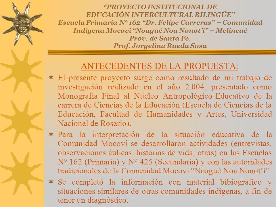 ANTECEDENTES DE LA PROPUESTA: