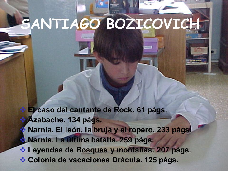 SANTIAGO BOZICOVICH El caso del cantante de Rock. 61 págs.