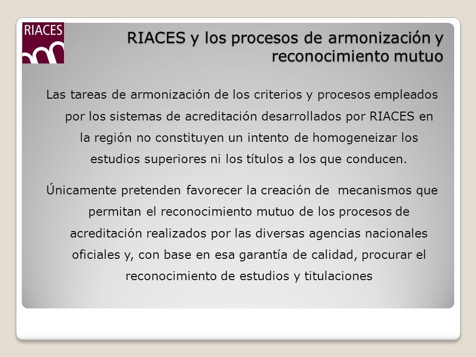 RIACES y los procesos de armonización y reconocimiento mutuo